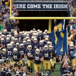Aug 30, 2014; South Bend, IN, USA; The Notre Dame Fighting Irish take the field before the game against the Rice Owls at Notre Dame Stadium. Mandatory Credit: Matt Cashore-USA TODAY Sports