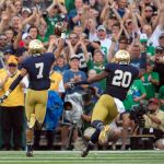 Aug 30, 2014; South Bend, IN, USA; Notre Dame Fighting Irish wide receiver William Fuller (7) celebrates as he scores a touchdown in the first quarter against the Rice Owls at Notre Dame Stadium. Mandatory Credit: Matt Cashore-USA TODAY Sports