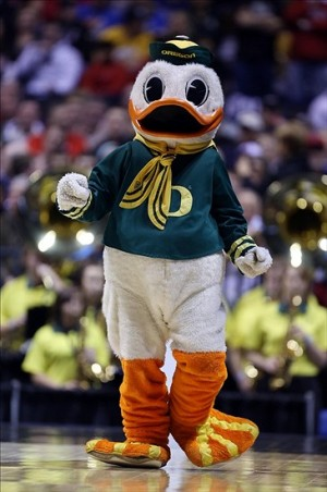 Mar 29, 2013; Indianapolis, IN, USA; Oregon Ducks mascot performs in the first half during the semifinals of the Midwest regional of the 2013 NCAA tournament against the Louisville Cardinals at Lucas Oil Stadium. Mandatory Credit: Brian Spurlock-USA TODAY Sports