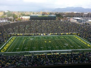 Oregon Marching Band starts their Pregame show prior to Utah.