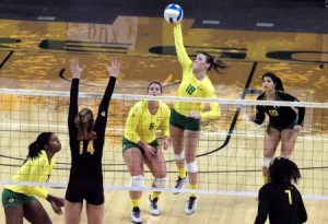 Ducks Fall to Stanford in Four Sets. Rick Morgan//DuckNews.com