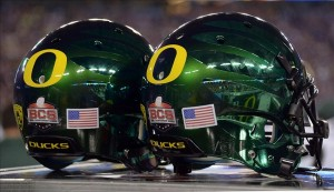 Jan 3, 2013; Glendale, AZ, USA; General view of Oregon Ducks helmets during the 2013 Fiesta Bowl against the Kansas State Wildcats in the 2013 Fiesta Bowl at University of Phoenix Stadium. Mandatory Credit: Kirby Lee/Image of Sport-USA TODAY Sports