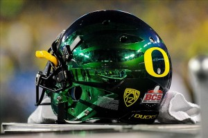 Jan. 3, 2013; Glendale, AZ, USA; Detail view of the Oregon Ducks helmet during the second half against the Kansas State Wildcats during the Fiesta Bowl at University of Phoenix Stadium. The Ducks beats the Wildcats 35-17. Mandatory Credit: Matt Kartozian-USA TODAY Sports