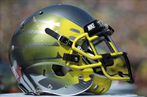 Apr, 27, 2013; Eugene, OR, USA; Oregon Ducks helmet on display at Autzen Stadium. Mandatory Credit: Scott Olmos-USA TODAY Sports