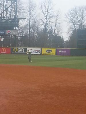 Players warmup during Oregon Baseball Media Day at PK Park. KPNWSports