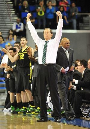 February 27, 2014; Los Angeles, CA, USA; Oregon Ducks head coach Dana Altman watches game action against the UCLA Bruins during the overtime period at Pauley Pavilion. Mandatory Credit: Gary A. Vasquez-USA TODAY Sports