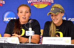 Oregon Pitcher Cheridan Hawkins and Infielder Courtney Ceo talk with the media. Joe Buehnner/StorminInNorman.com