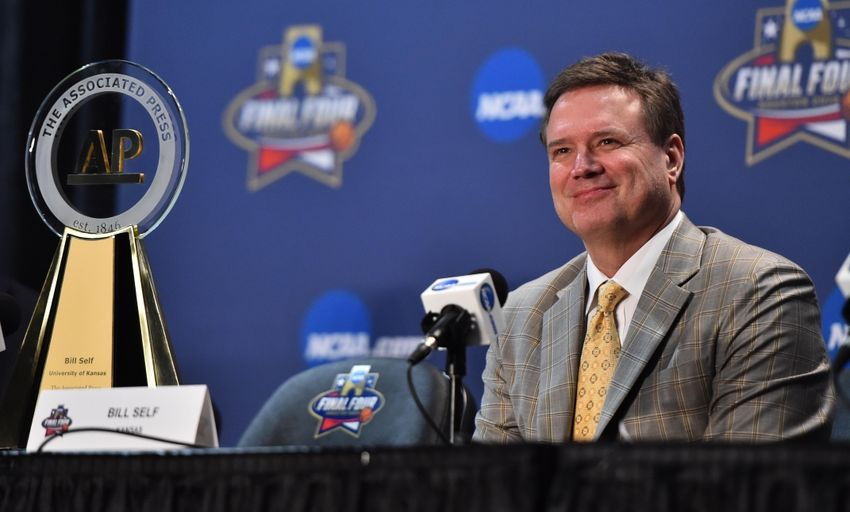 Mar 31, 2016; Houston, TX, USA; Kansas Jayhawks head coach Bill Self speaks to media during a press conference at NRG Stadium. Mandatory Credit: Bob Donnan-USA TODAY Sports