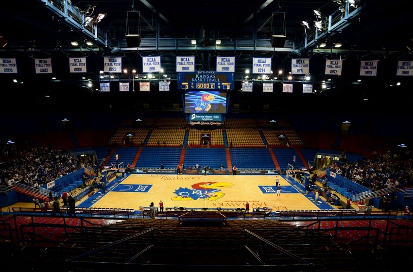 Feb 3, 2016; Lawrence, KS, USA; An overall view of Allen Fieldhouse before the game between the Kansas State Wildcats and Kansas Jayhawks. Mandatory Credit: John Rieger-USA TODAY Sports