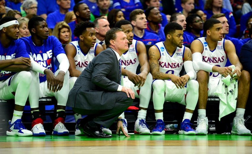 Mar 17, 2016; Des Moines, IA, USA; Kansas Jayhawks head coach Bill Self talks with his bench during the second half against the Austin Peay Governors in the first round of the 2016 NCAA Tournament at Wells Fargo Arena. Mandatory Credit: Jeffrey Becker-USA TODAY Sports