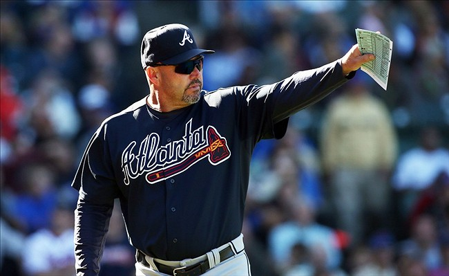 Sep 22, 2013; Chicago, IL, USA; Atlanta Braves manager Fredi Gonzalez during the sixth inning against the Chicago Cubs at Wrigley Field. Mandatory Credit: Jerry Lai-USA TODAY Sports