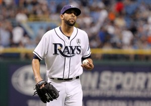 April 2, 2012; St. Petersburg, FL, USA; Tampa Bay Rays starting pitcher David Price (14) reacts after he gave up a 2-run home run first inning against the Baltimore Orioles during opening day at Tropicana Field. Mandatory Credit: Kim Klement-USA TODAY Sports