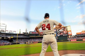 Sep 14, 2013; Atlanta, GA, USA; Atlanta Braves outfielder Evan Gattis (24) waits on deck against the San Diego Padres during the first inning at Turner Field. The Braves defeated the Padres 2-1. Mandatory Credit: Dale Zanine-USA TODAY Sports