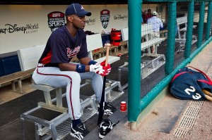 March 2, 2012; Orlando, FL, USA; Atlanta Braves special instructor Fred McGriff (23) watches fielding practice during a team workout during spring training at Champion Stadium. Mandatory Credit: Daniel Shirey-USA TODAY Sports