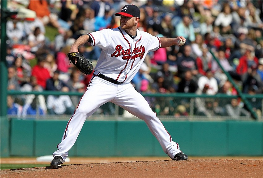 March 3, 2013; Lake Buena Vista, FL, USA; Atlanta Braves relief pitcher Jonny Venters (39) throws a pitch during the fourth inning against the Detroit Tigers at ESPN Disney Wide World of Sports complex, Champion Stadium. Mandatory Credit: Kim Klement-USA TODAY Sports