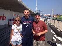 My wife and I with Kyle Kubitza, after a pre-game interview in Pensacola.