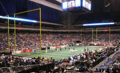 Alamo Dome rigged for Arena Football. Photo Credit: Paul Donaldson, http://www.stadiumjourney.com/stadiums/alamodome-s1241/images