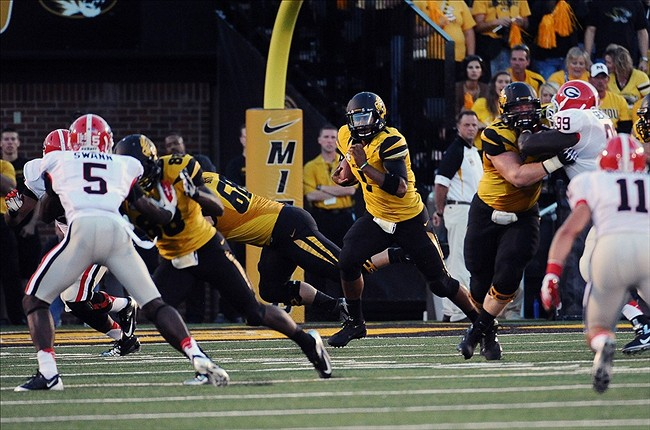 September 8, 2012; Columbia, MO, USA; Missouri Tigers quarterback James Franklin (1) runs with the ball against the Georgia Bulldogs during the first quarter at Faurot Field. Mandatory Credit: Dak Dillon-US PRESSWIRE