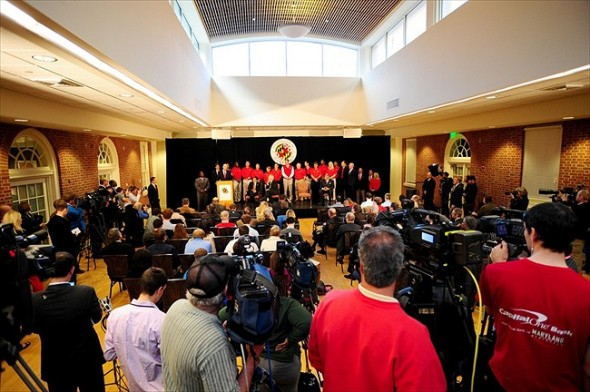 November 19, 2012;College Par, MD, USA; A general view of the media during the University of Maryland Big Ten Press Conference at Adele Stamp Union. Mandatory Credit: Evan Habeeb-USA TODAY Sports