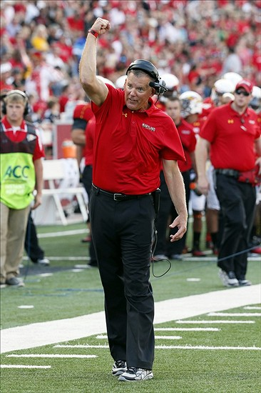 Sep 7, 2013; College Park, MD, USA; Maryland Terrapins head coach Randy Edsall reacts during the third quarter against the Old Dominion Monarchs at Byrd Stadium. Mandatory Credit: Mitch Stringer-USA TODAY Sports