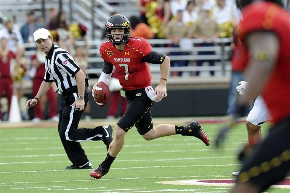 October 27, 2012; Boston, MA USA; Maryland Terrapins quarterback Caleb Rowe (7) runs out of the pocket during the second half against the Boston College Eagles at Alumni Stadium. Mandatory Credit: Bob DeChiara-USA TODAY Sports