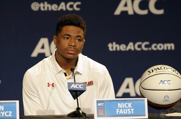 Oct 16, 2013; Charlotte, NC, USA; Maryland Terrapins guard forward Nick Faust speaks to the media during the ACC basketball media day at The Ritz-Carlton. Mandatory Credit: Sam Sharpe-USA TODAY Sports