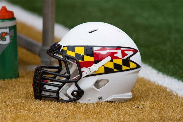 Oct 19, 2013; Winston-Salem, NC, USA; A Maryland Terrapins helmet lays on the sidelines during the game against the Wake Forest Demon Deacons at BB