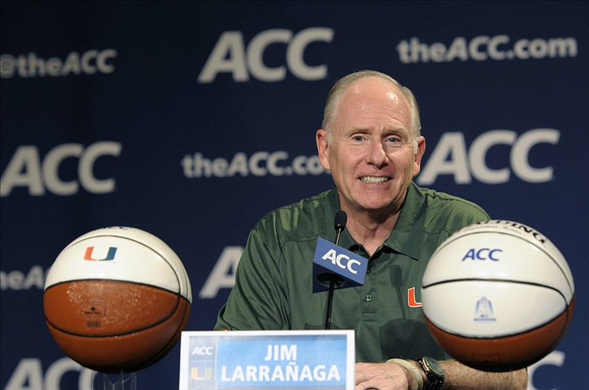 Oct 16, 2013; Charlotte, NC, USA; Miami Hurricanes head basketball coach Jim Larranaga speaks to the media during the ACC basketball media day at The Ritz-Carlton. Mandatory Credit: Sam Sharpe-USA TODAY Sports