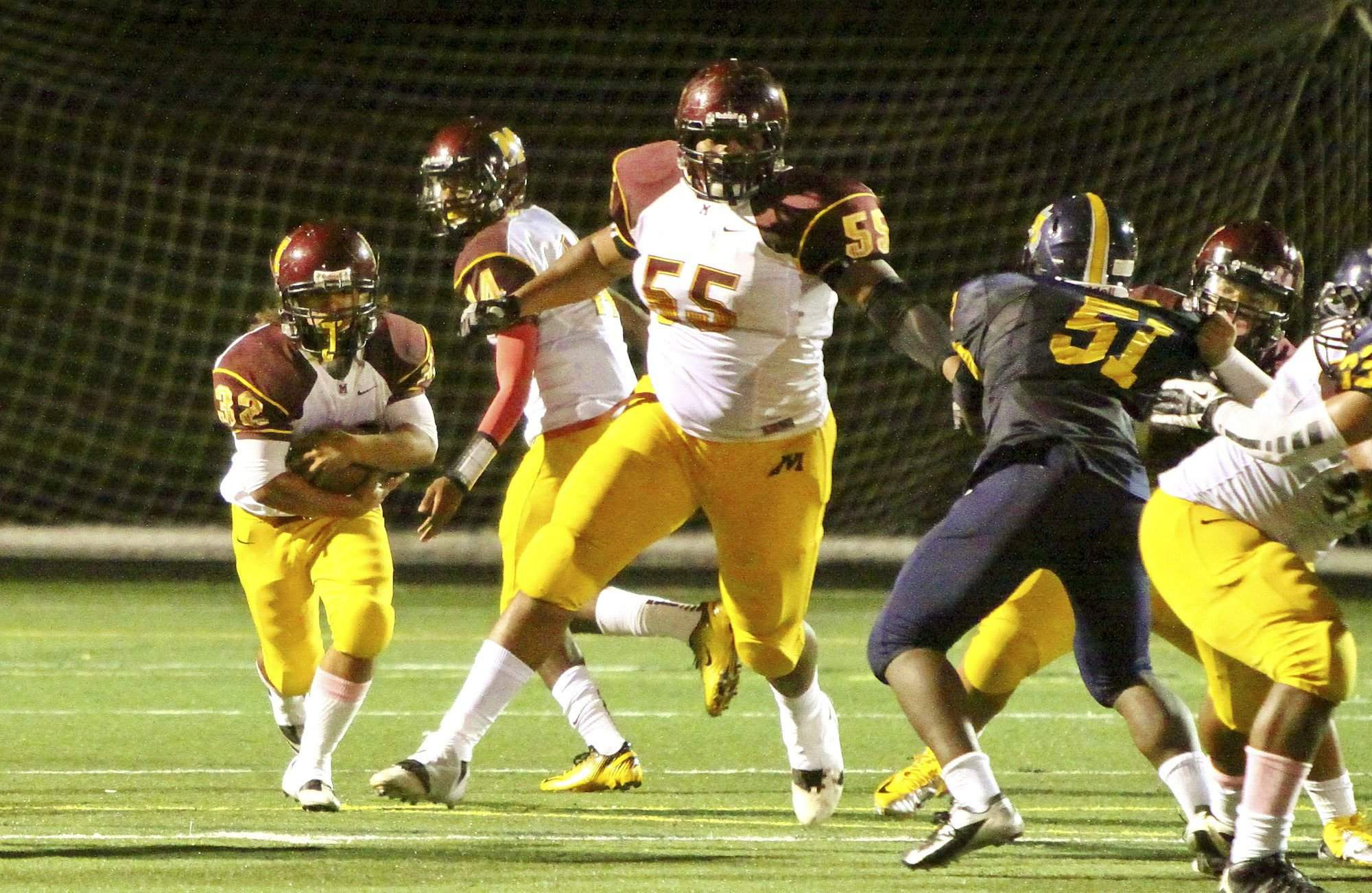Bishop McNamara offensive tackle Damian Prince should start as a freshman and is the biggest Maryland commit since wide receiver Stefon Diggs. (Mandatory Credit: George P. Smith/The Gazette)