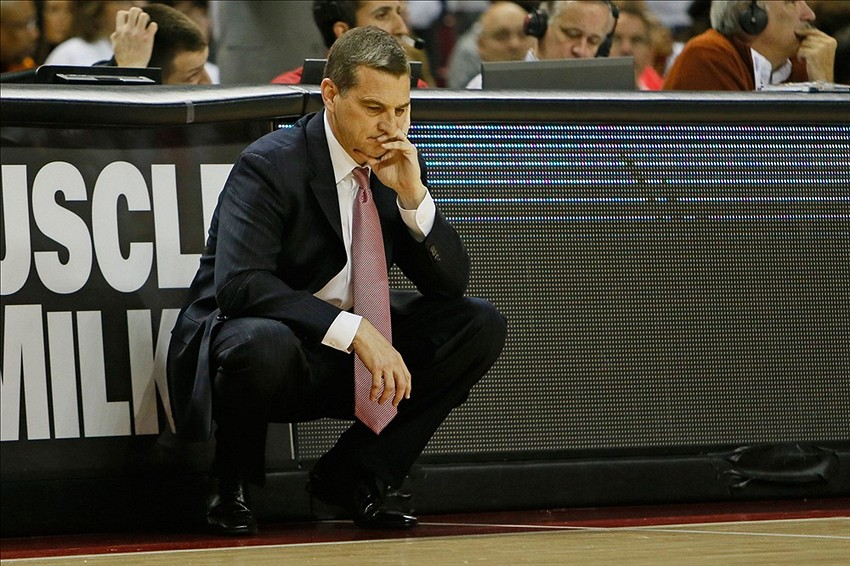 Jan 15, 2014; College Park, MD, USA; Maryland Terrapins head coach Mark Turgeon reacts to the teams first half play against the Notre Dame Fighting Irish at Comcast Center. Mandatory Credit: Mitch Stringer-USA TODAY Sports