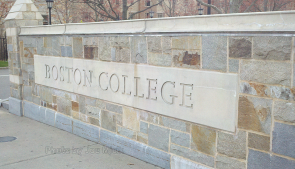 Boston College entry sign