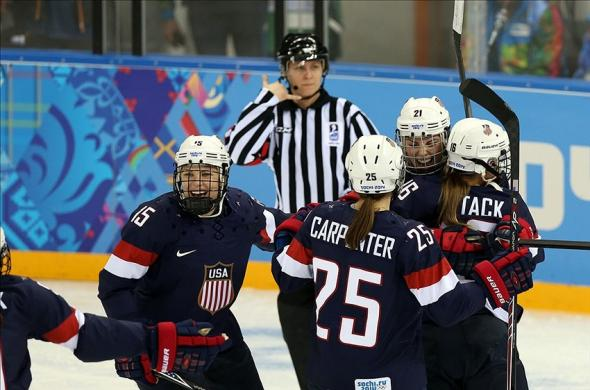 Olympics: Ice Hockey-Women's Prelim Round-USA vs FIN