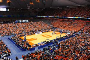 Feb 14, 2015; Syracuse, NY, USA; General view of the Carrier Dome during the second half of the game between the Duke Blue Devils and the Syracuse Orange. Duke defeated Syracuse 80-72. Mandatory Credit: Rich Barnes-USA TODAY Sports