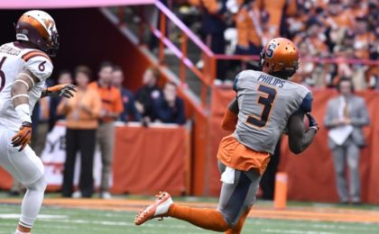 Oct 15, 2016; Syracuse, NY, USA; Syracuse Orange wide receiver Ervin Philips (3) beats Virginia Tech Hokies safety Mook Reynolds (6) to catch a pass for a touchdown during the first quarter in a game at the Carrier Dome. Mandatory Credit: Mark Konezny-USA TODAY Sports