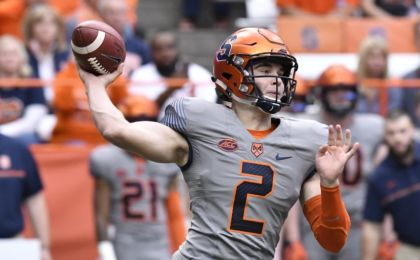 Oct 15, 2016; Syracuse, NY, USA; Syracuse Orange quarterback Eric Dungey (2) throws a pass during the first quarter in a game against the Virginia Tech Hokies at the Carrier Dome. Mandatory Credit: Mark Konezny-USA TODAY Sports
