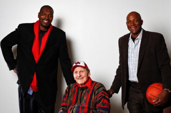 Olajuwon and Drexler with Guy V. Lewis