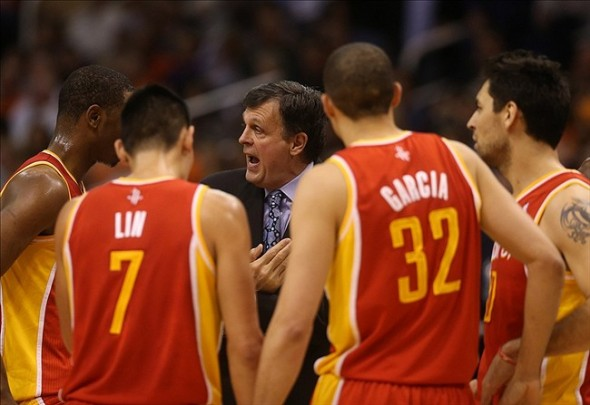 Apr. 15, 2013; Phoenix, AZ, USA: Houston Rockets head coach Kevin McHale talks to his players during a time out in the second quarter against the Phoenix Suns at the US Airways Center. Mandatory Credit: Mark J. Rebilas-USA TODAY Sports