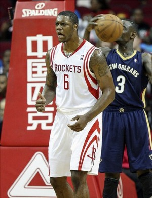 Oct 5, 2013; Houston, TX, USA; Houston Rockets power forward Terrence Jones (6) reacts after a play during the second quarter against the New Orleans Pelicans at Toyota Center. Mandatory Credit: Troy Taormina-USA TODAY Sports
