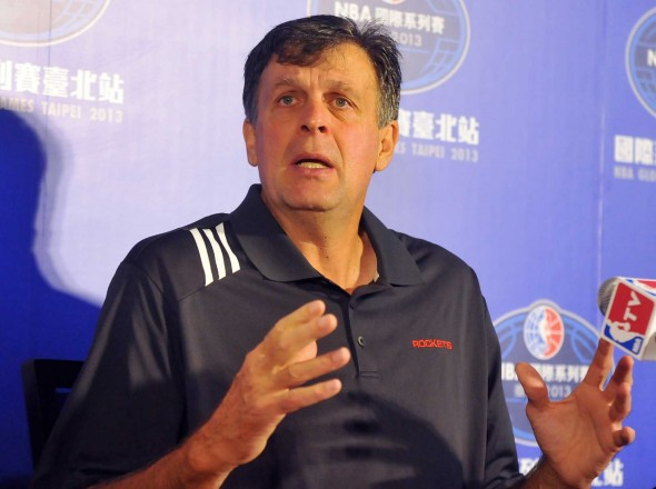 Head Coach Kevin McHale of the Houston Rockets speaks during a press conference in Taipei on October 11, 2013. The Indiana Pacers and Houston Rockets arrived in the Taipei of Taiwan on October 11 for the southeast Asian nation's first hosting of an NBA game on October 13. AFP PHOTO / Mandy CHENGMandy Cheng/AFP/Getty Images
