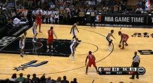 Harden Sizes Up His Defender