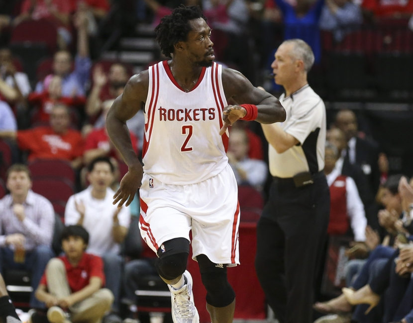 Apr 7, 2016; Houston, TX, USA; Houston Rockets guard Patrick Beverley (2) celebrates after making a three point basket during the first quarter against the Phoenix Suns at Toyota Center. Mandatory Credit: Troy Taormina-USA TODAY Sports
