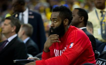 Apr 27, 2016; Oakland, CA, USA; Houston Rockets guard James Harden (13) on the bench against the Golden State Warriors during the second quarter in game five of the first round of the NBA Playoffs at Oracle Arena. Mandatory Credit: Kelley L Cox-USA TODAY Sports