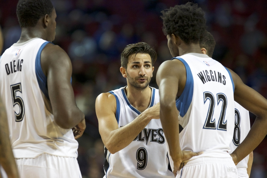 Oct 12, 2016; Lincoln, NE, USA;  Minnesota Timberwolves guard Ricky Rubio (9) talks to forward Andrew Wiggins (22) during the game against the Denver Nuggets in the first half at Pinnacle Bank Arena. Mandatory Credit: Bruce Thorson-USA TODAY Sports