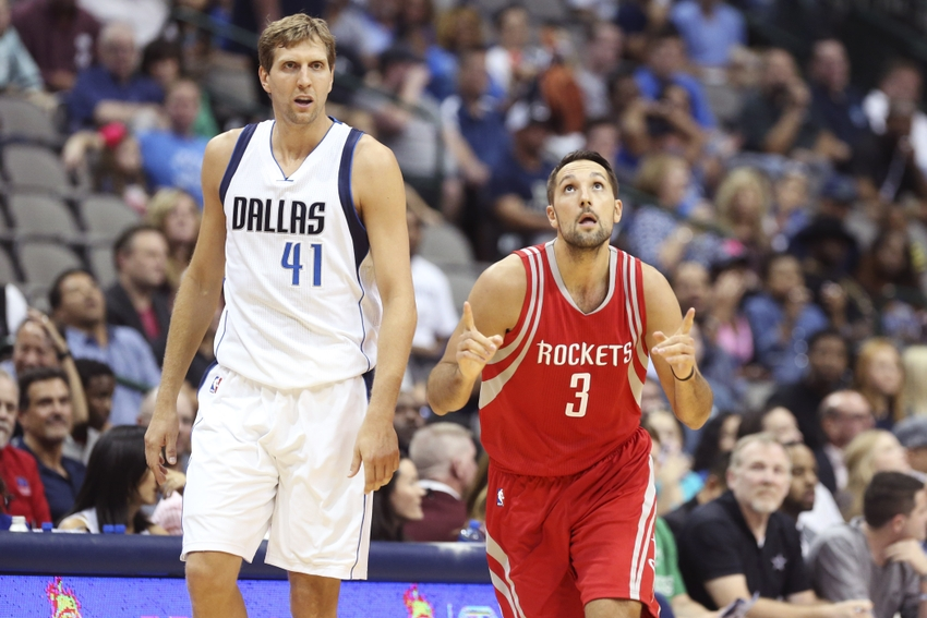 Oct 19, 2016; Dallas, TX, USA; Houston Rockets forward Ryan Anderson (3) reacts in front of Dallas Mavericks forward Dirk Nowitzki (41) after scoring during the first quarter at American Airlines Center. Mandatory Credit: Kevin Jairaj-USA TODAY Sports