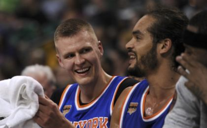 Oct 19, 2016; Boston, MA, USA; New York Knicks forward Kristaps Porzingis (6) has a laugh on the bench during the second half against the Boston Celtics at TD Garden. Mandatory Credit: Bob DeChiara-USA TODAY Sports