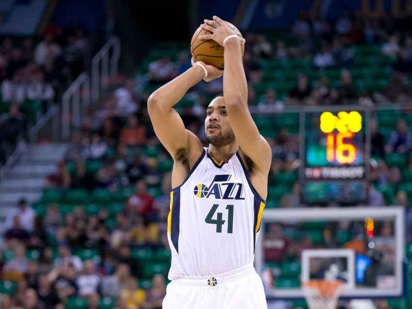 Oct 19, 2016; Salt Lake City, UT, USA; Utah Jazz forward Trey Lyles (41) shoots the ball during the second half against the Portland Trail Blazers at Vivint Smart Home Arena. The Trail Blazers won 88-84. Mandatory Credit: Russ Isabella-USA TODAY Sports