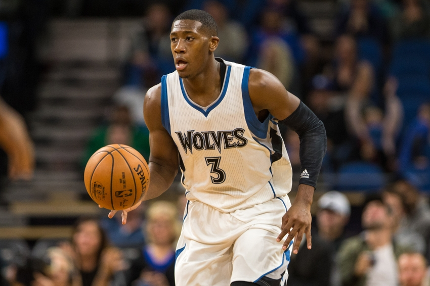 Oct 21, 2016; Minneapolis, MN, USA; Minnesota Timberwolves guard Kris Dunn (3) dribbles the ball during the fourth quarter against the Charlotte Hornets at Target Center. The Timberwolves won 109-74. Mandatory Credit: Brace Hemmelgarn-USA TODAY Sports