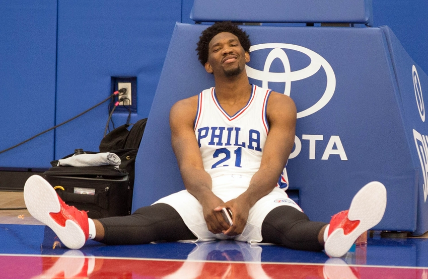 Sep 26, 2016; Philadelphia, PA, USA; Philadelphia 76ers center Joel Embiid (21) takes a break during media day at the Philadelphia 76ers Training Complex. Mandatory Credit: Bill Streicher-USA TODAY Sports