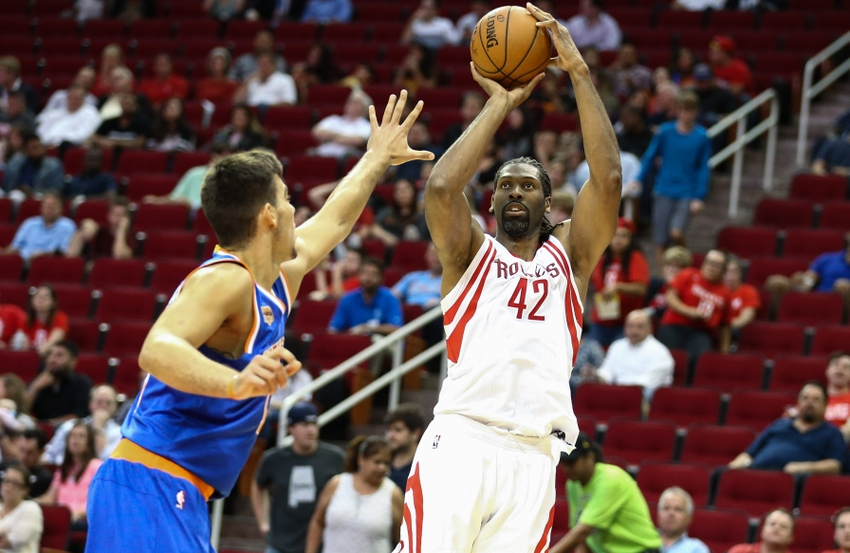 Oct 4, 2016; Houston, TX, USA; Houston Rockets center Nene Hilario (42) shoots the ball during a game against the New York Knicks at Toyota Center. Mandatory Credit: Troy Taormina-USA TODAY Sports