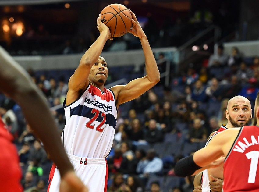Oct 21, 2016; Washington, DC, USA; Washington Wizards forward Otto Porter Jr. (22) shoots the ball against the Toronto Raptors during the second half at Verizon Center. Mandatory Credit: Brad Mills-USA TODAY Sports